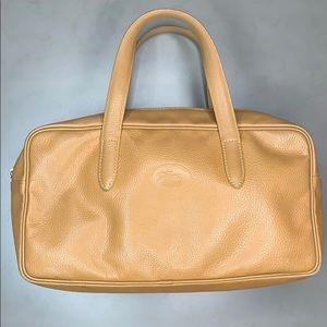 Longchamp Zippered Leather Satchel Tan